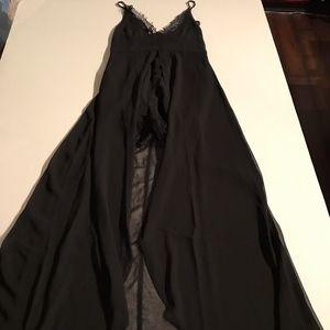 Nasty Gal Black Chiffon Lace Dress Romper Overlay